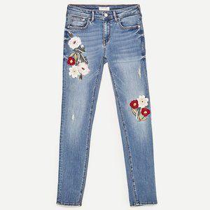 ZARA flower embroidered skinny Jeans